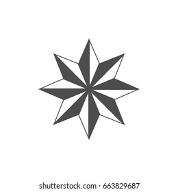 Eight pointed star simple icon.