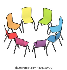 Eight rainbow multicoloured chairs arranged in a circle for group work, or group therapy.