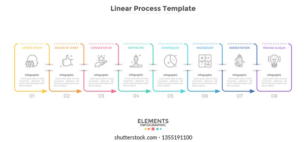 Eight rectangular elements arranged in horizontal row and connected by arrows. Concept of 8-stepped business cycle. Simple infographic design template. Linear vector illustration for presentation.