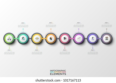 Eight round elements or links with thin line symbols inside arranged into horizontal chain and connected. Concept of 8 steps of successive development. Infographic design template. Vector illustration