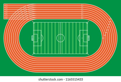 eight running tracks with football stadium for pattern and design,vector illustration.