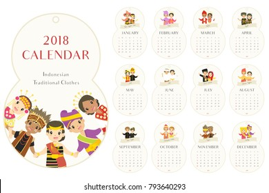 eight shaped 2018 calendar with Indonesian Traditional clothes. Indonesian children wearing traditional clothes. printable 2018 calendar template, vector design.