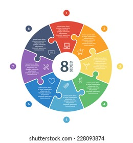 Eight sided, numbered flat rainbow spectrum colored puzzle presentation infographic chart with explanatory text field isolated on white background. Vector graphic template.