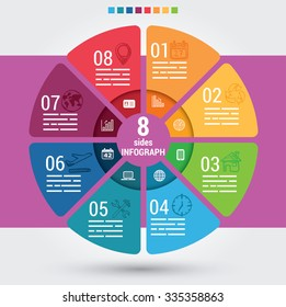 Eight sides infographic template, a vector chart with 8 options used for web, banners, reports, presentation and brochures.