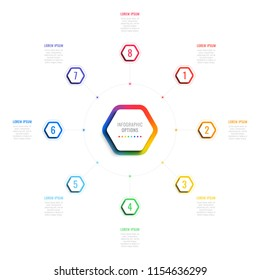 eight steps 3d infographic template with hexagonal elements. business process template with options for brochure, diagram, workflow, timeline, web design
