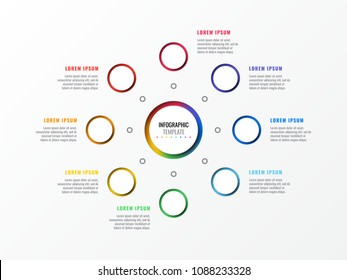 eight steps design layout infographic template with round 3d realistic elements. process diagram for brochure, banner, annual report