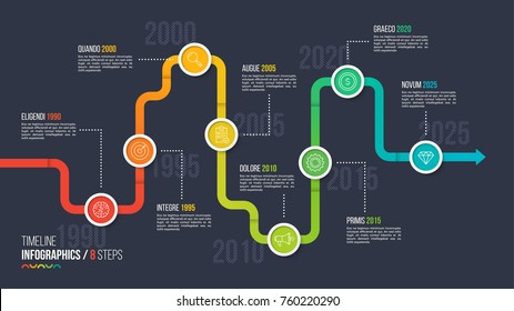 Eight steps timeline or milestone infographic chart. 8 options vector template for presentations, data visualization, layouts, annual reports, web design.