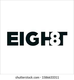 eight text logo vector template