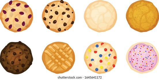 Eight various cookies in a flatlay view. Oatmeal raisin, chocolate chip, sugar, snickerdoodle, fudge, peanut butter, candy, and frosting and sprinkle cookies. Isolated vector illustrations.