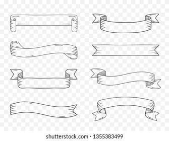 Eight vintage handdrawn ribbon banners on transparent background, vector eps10 illustration