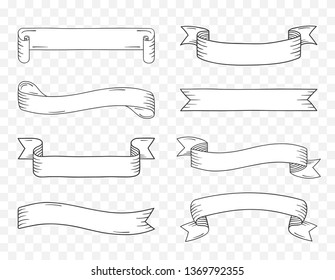 Eight vintage handdrawn ribbon banners, vector eps10 illustration