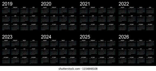 Eight year calendar - 2019, 2020, 2021 and 2022 in black background.