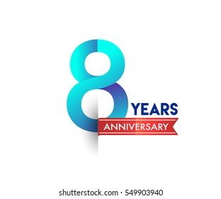 eight years anniversary celebration logotype blue colored with red ribbon. 8th birthday logo on white background.