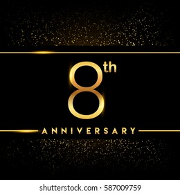 eight years anniversary celebration logotype. 8th anniversary logo with confetti golden colored isolated on black background, vector design for greeting card and invitation card
