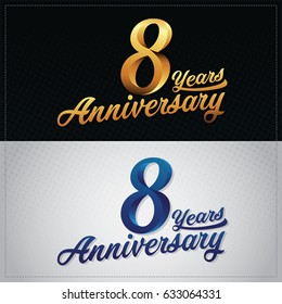 eight years anniversary celebration logotype. 8th anniversary logo