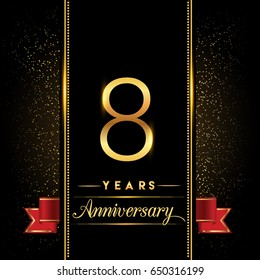 eight years anniversary celebration logotype. 8th anniversary logo with confetti golden colored and red ribbon isolated on black background, vector design for greeting card and invitation card