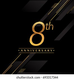eight years anniversary celebration logotype. 8th anniversary logo golden colored isolated on black background, vector design for greeting card and invitation card.