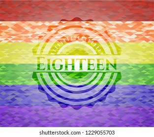 Eighteen emblem on mosaic background with the colors of the LGBT flag