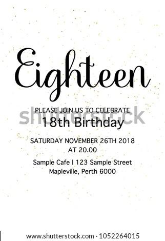 Eighteen Invitation Card 18th Birthday Party Stock Vector Royalty