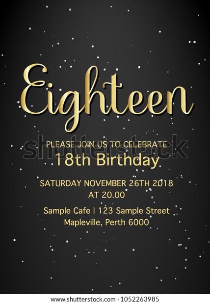Eighteen Invitation Card 18th Birthday Party Holidays