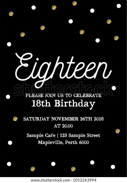Eighteen Invitation Card 18th Birthday Party Stock Vector