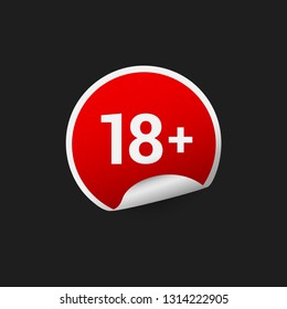 Eighteen plus adults only age restriction red sticker badge label