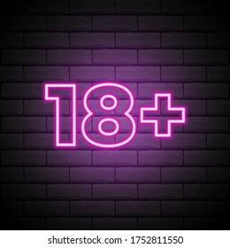 Eighteen plus, age limit, sign in neon style. Only for adults. Night bright neon sign, symbol 18 plus