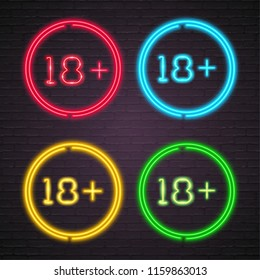 Eighteen Plus Icon Set Neon Light Glowing Age Limit. Only for Adults with Dark Background 18 Plus Bright Neon
