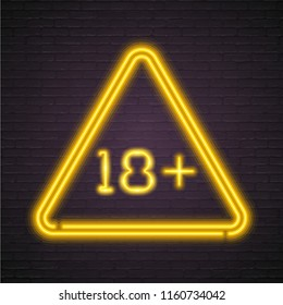 Eighteen Plus Neon Light Glowing Age Limit Neon Style with Dark Background Yellow Bright