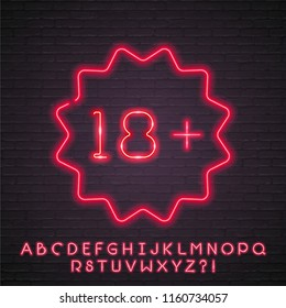 Eighteen Plus  Neon Light Glowing Age Limit, Sign in Neon Style for Adults. Night Bright Sign with Alphabet Neon Bright