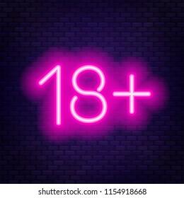 Eighteen plus neon sign on brick wall background.