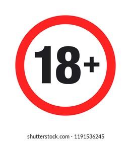"""""""eighteen plus"""" round sign. Vector Illustration"""