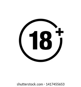 Eighteen plus. Under 18 years old sign. 18 plus sign icon design template. Vector EPS 10