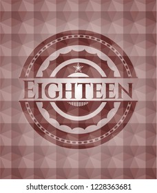 Eighteen red emblem with geometric background. Seamless.