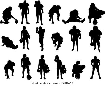 Eighteen silhouette vector images of football players.