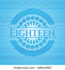 Eighteen water representation style badge. Vector Illustration. Detailed.