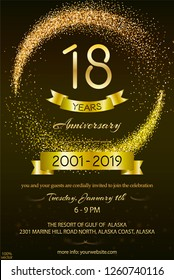 eighteen years anniversary celebration logotype. 18th anniversary logo with confetti golden colored and golden ribbon isolated on black background, vector design for greeting card and invitation card.