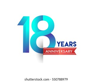 eighteen years anniversary celebration logotype blue colored with red ribbon. 18th birthday logo on white background