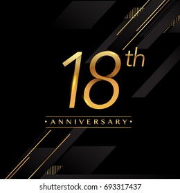 eighteen years anniversary celebration logotype. 18th anniversary logo golden colored isolated on black background, vector design for greeting card and invitation card.
