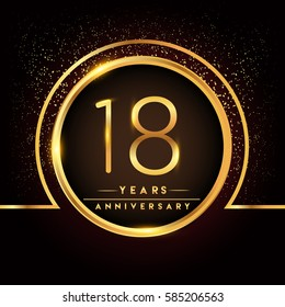 eighteen years birthday celebration logotype. 18th anniversary logo with confetti and golden ring isolated on black background, vector design for greeting card and invitation card.