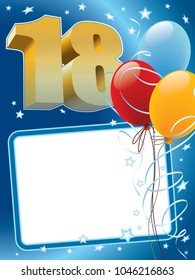 Eighteenth anniversary. Background with design elements the poster or invitation for the eighteenth anniversary