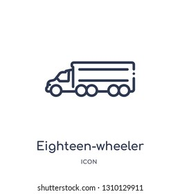 eighteen-wheeler icon from transportation outline collection. Thin line eighteen-wheeler icon isolated on white background.