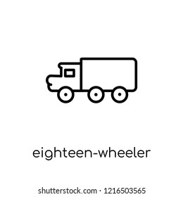 eighteen-wheeler icon. Trendy modern flat linear vector eighteen-wheeler icon on white background from thin line Transportation collection, outline vector illustration