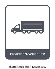 eighteen-wheeler icon vector on white background, eighteen-wheeler trendy filled icons from Transportation collection, eighteen-wheeler simple element illustration