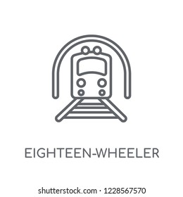 eighteen-wheeler linear icon. Modern outline eighteen-wheeler logo concept on white background from Transportation collection. Suitable for use on web apps, mobile apps and print media.