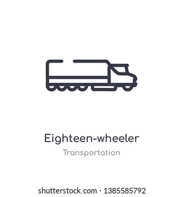 eighteen-wheeler outline icon. isolated line vector illustration from transportation collection. editable thin stroke eighteen-wheeler icon on white background