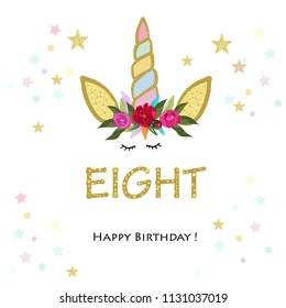 Eighth birtday. Eight. Unicorn Birthday invitation. Party invitation greeting card