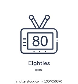 eighties icon from user interface outline collection. Thin line eighties icon isolated on white background.