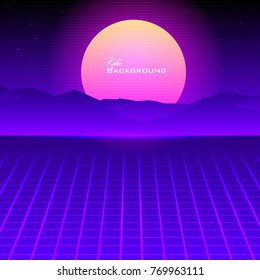 Eighties Retro Sunrise over mountains Vector Background