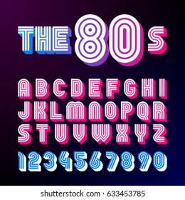 Eighties style retro font. 80's font design with shadow, disco style, alphabet and numbers vector illustration